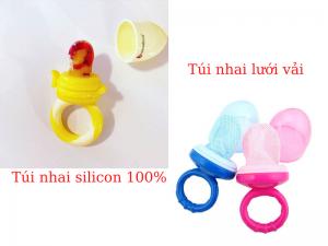 túi nhai ăn dặm silicon vs. túi nhai lưới vải